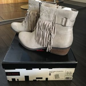 Taupe booties with fringe. NWT. Still in box. 8